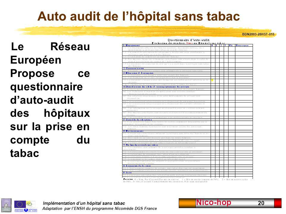 Auto audit de l'hôpital sans tabac