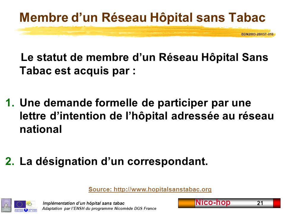 Membre d'un Réseau Hôpital sans Tabac