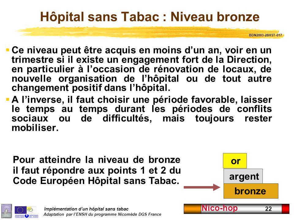Hôpital sans Tabac : Niveau bronze