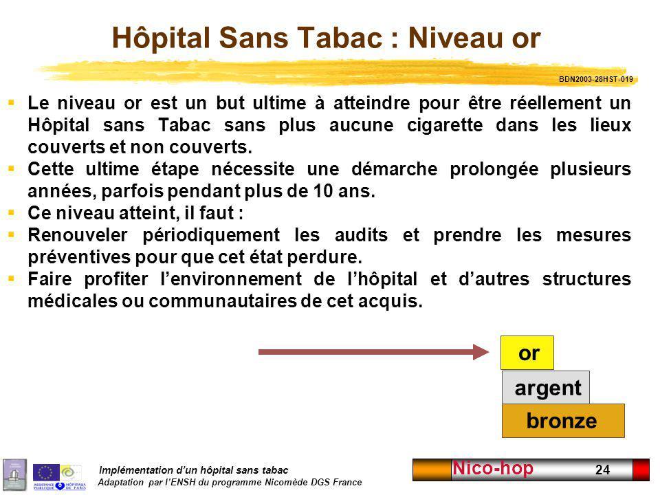 Hôpital Sans Tabac : Niveau or