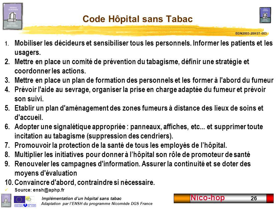 Code Hôpital sans Tabac