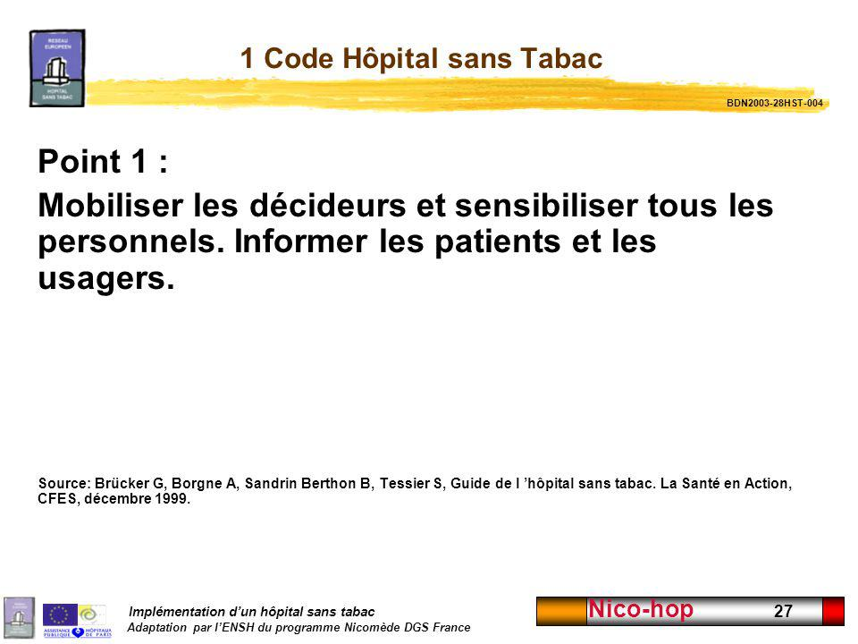 1 Code Hôpital sans Tabac