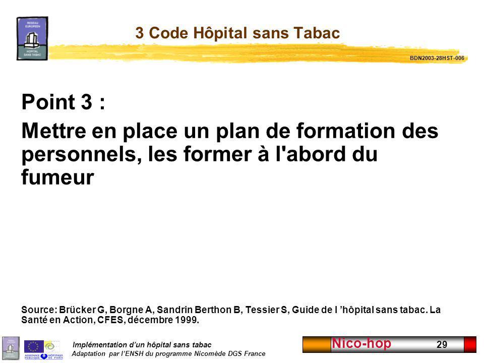 3 Code Hôpital sans Tabac