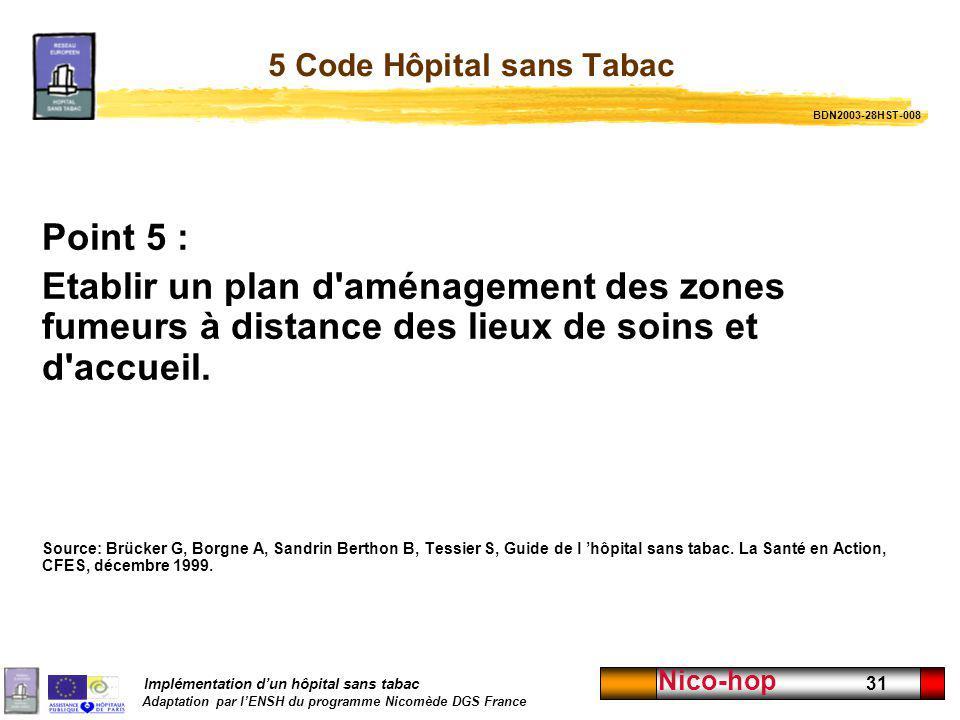 5 Code Hôpital sans Tabac