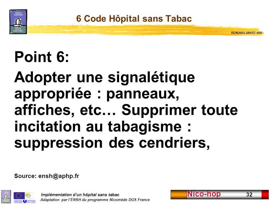 6 Code Hôpital sans Tabac