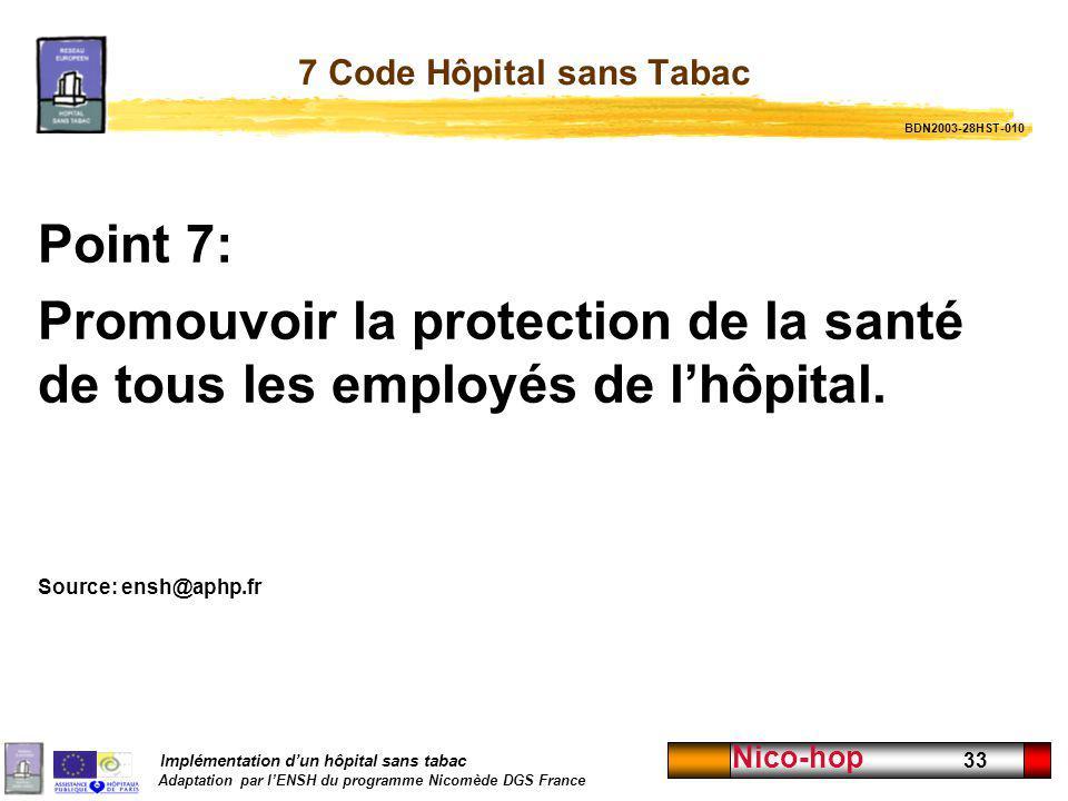 7 Code Hôpital sans Tabac