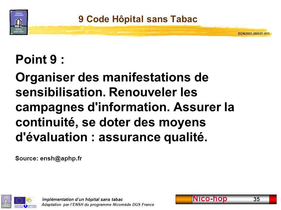 9 Code Hôpital sans Tabac