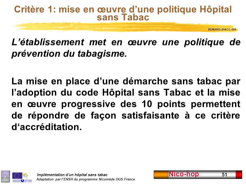 Critère 1: mise en œuvre d'une politique Hôpital sans Tabac