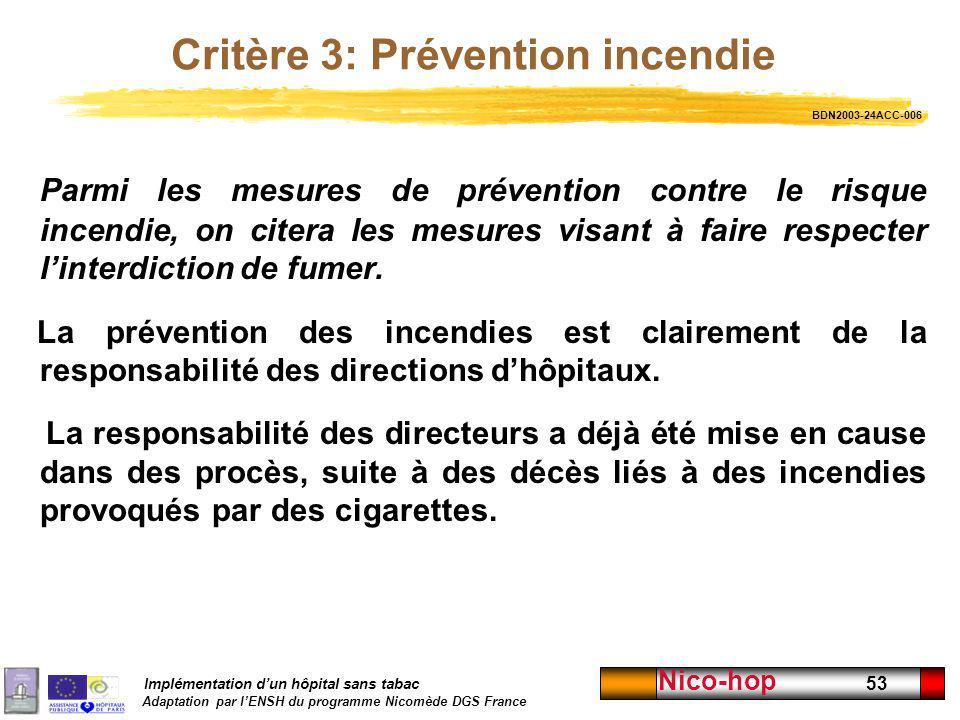 Critère 3: Prévention incendie