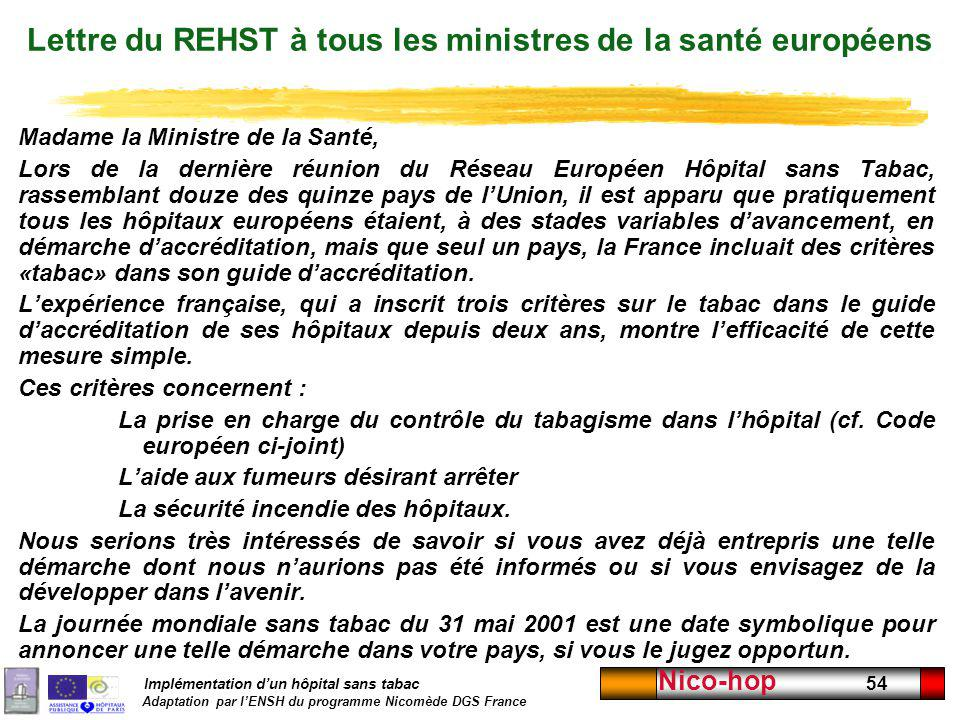 Lettre du REHST à tous les ministres de la santé européens