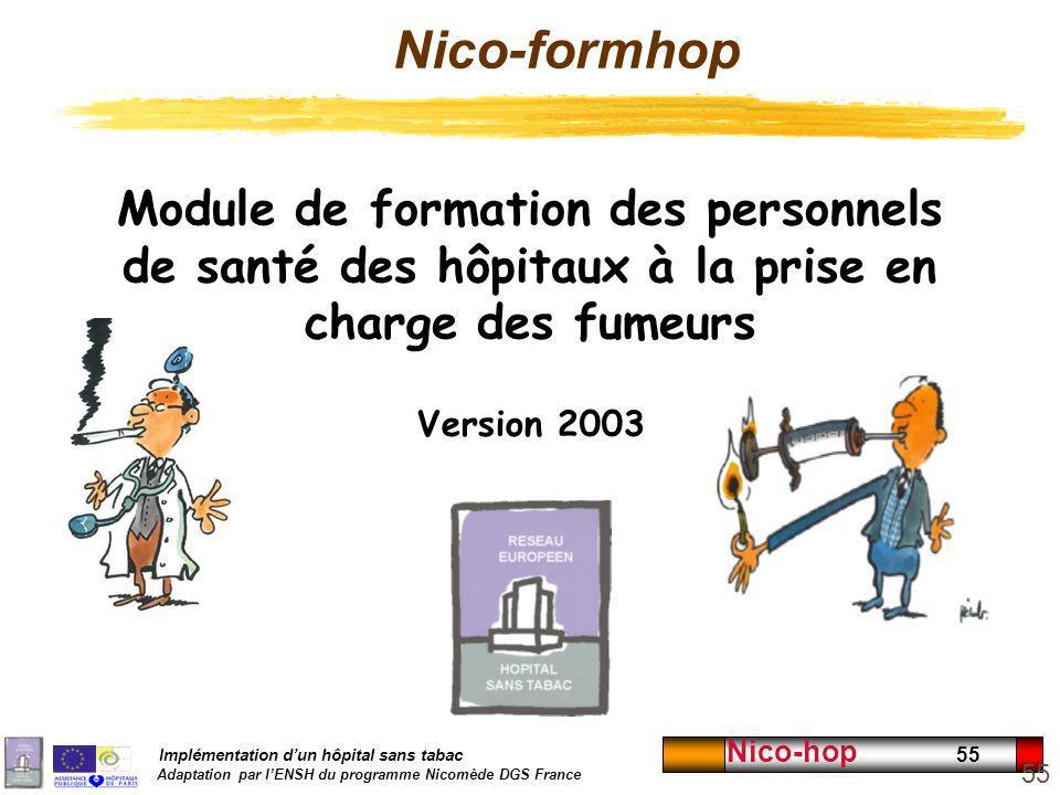 Nico-formhop Module de formation des personnels de santé des hôpitaux à la prise en charge des fumeurs.