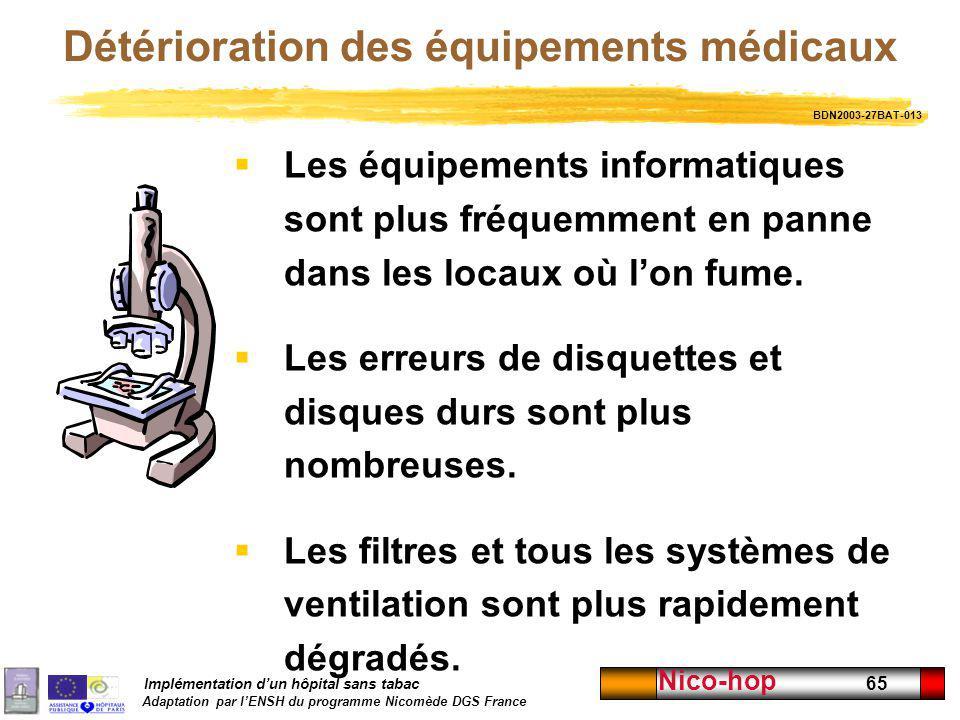 Détérioration des équipements médicaux