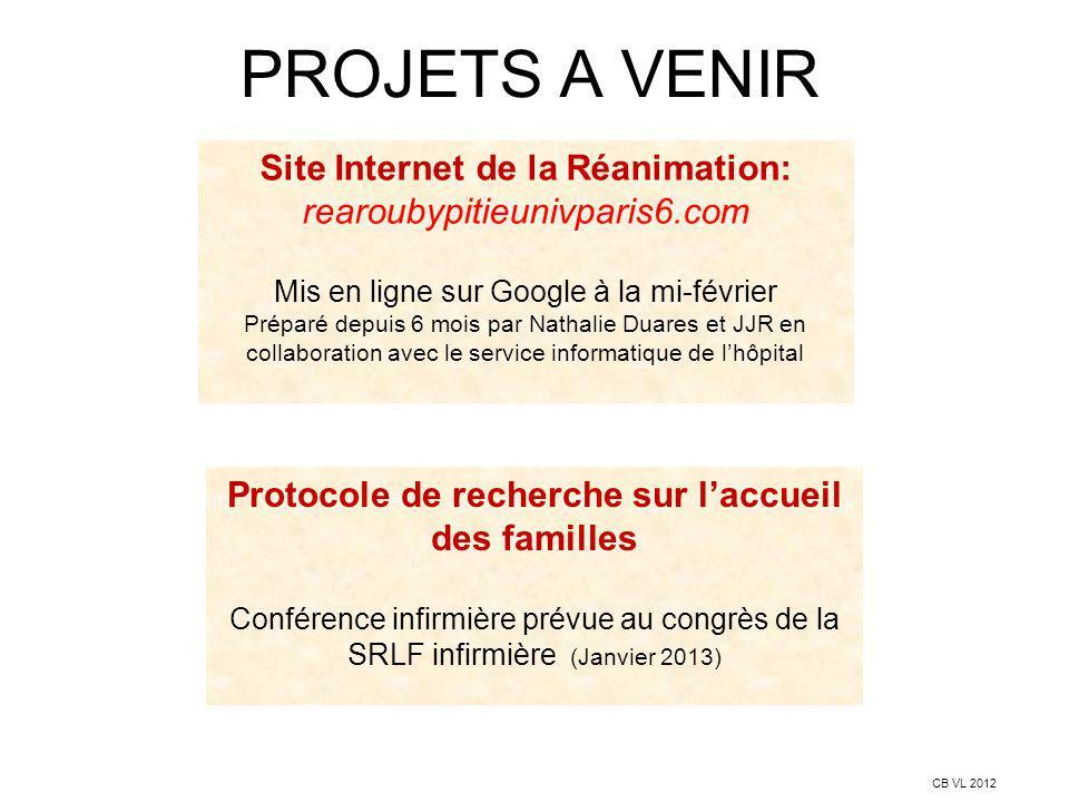 PROJETS A VENIR Site Internet de la Réanimation: rearoubypitieunivparis6.com. Mis en ligne sur Google à la mi-février.
