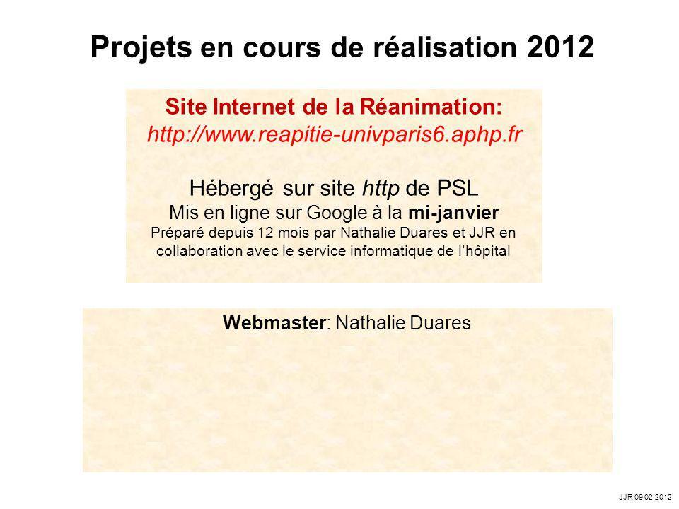 Projets en cours de réalisation 2012
