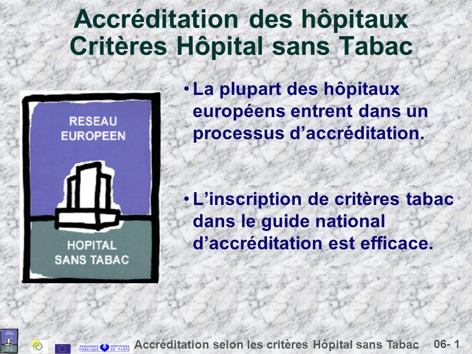 Accréditation des hôpitaux Critères Hôpital sans Tabac