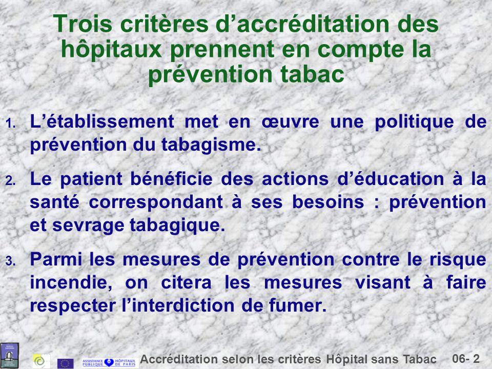 Trois critères d'accréditation des hôpitaux prennent en compte la prévention tabac