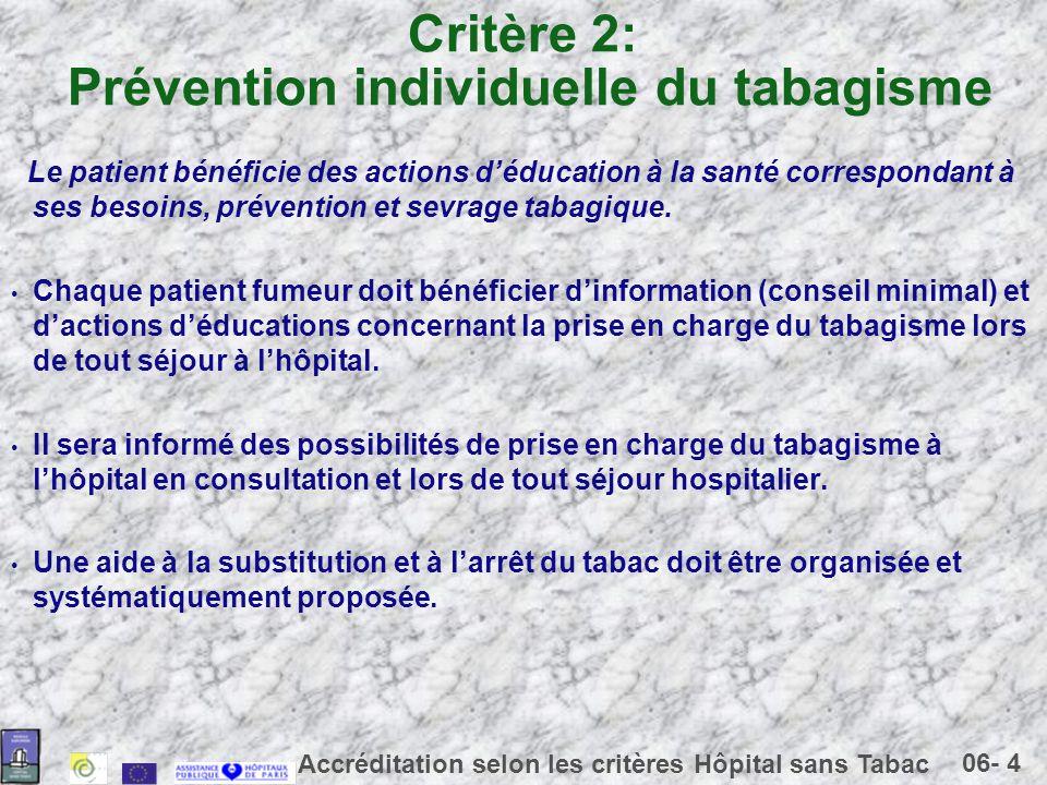 Critère 2: Prévention individuelle du tabagisme