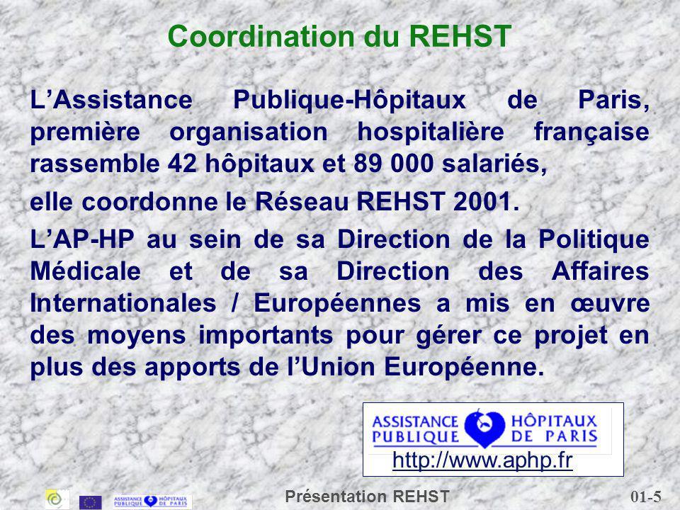 Coordination du REHST L'Assistance Publique-Hôpitaux de Paris, première organisation hospitalière française rassemble 42 hôpitaux et 89 000 salariés,