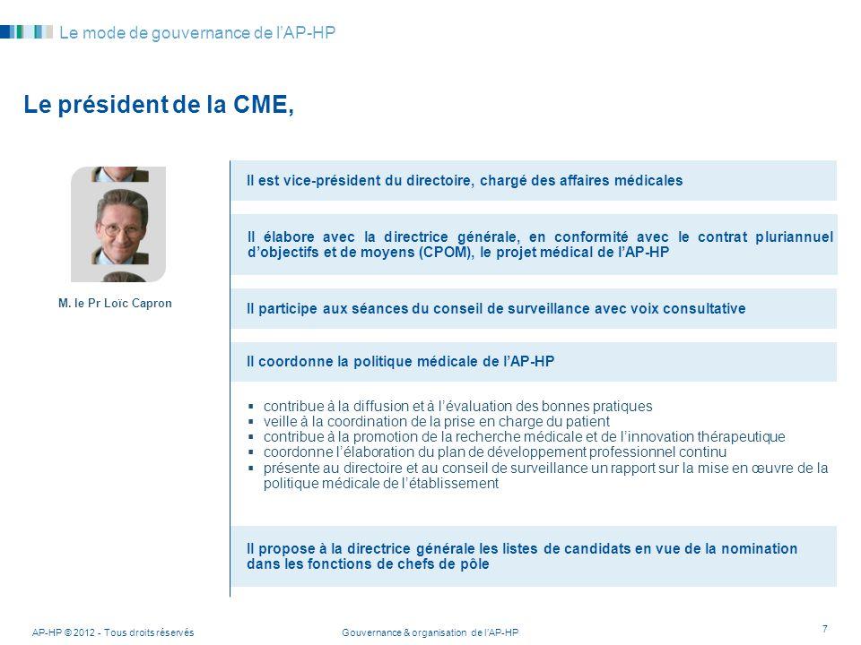 Le président de la CME, Le mode de gouvernance de l'AP-HP