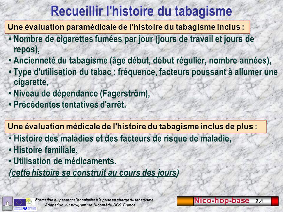 Recueillir l histoire du tabagisme