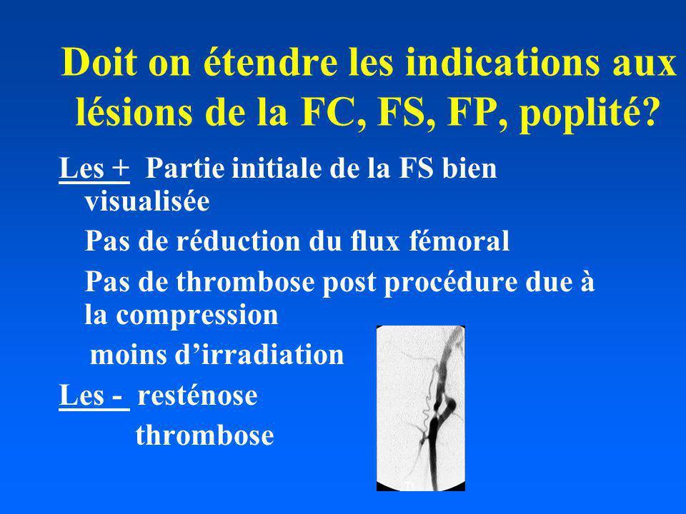 Doit on étendre les indications aux lésions de la FC, FS, FP, poplité