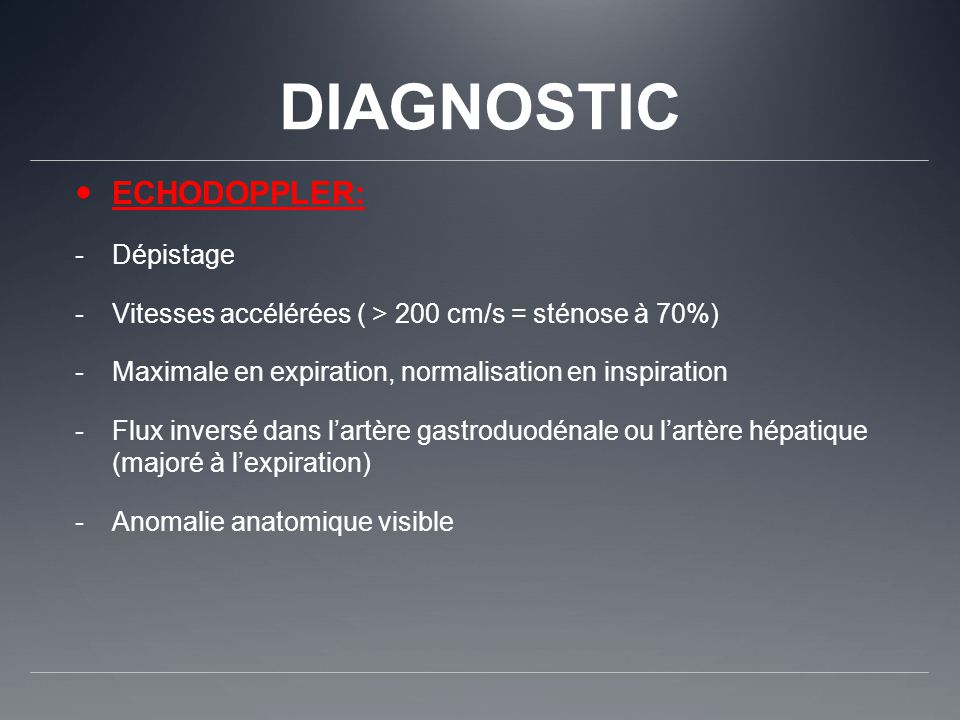 DIAGNOSTIC ECHODOPPLER: Dépistage