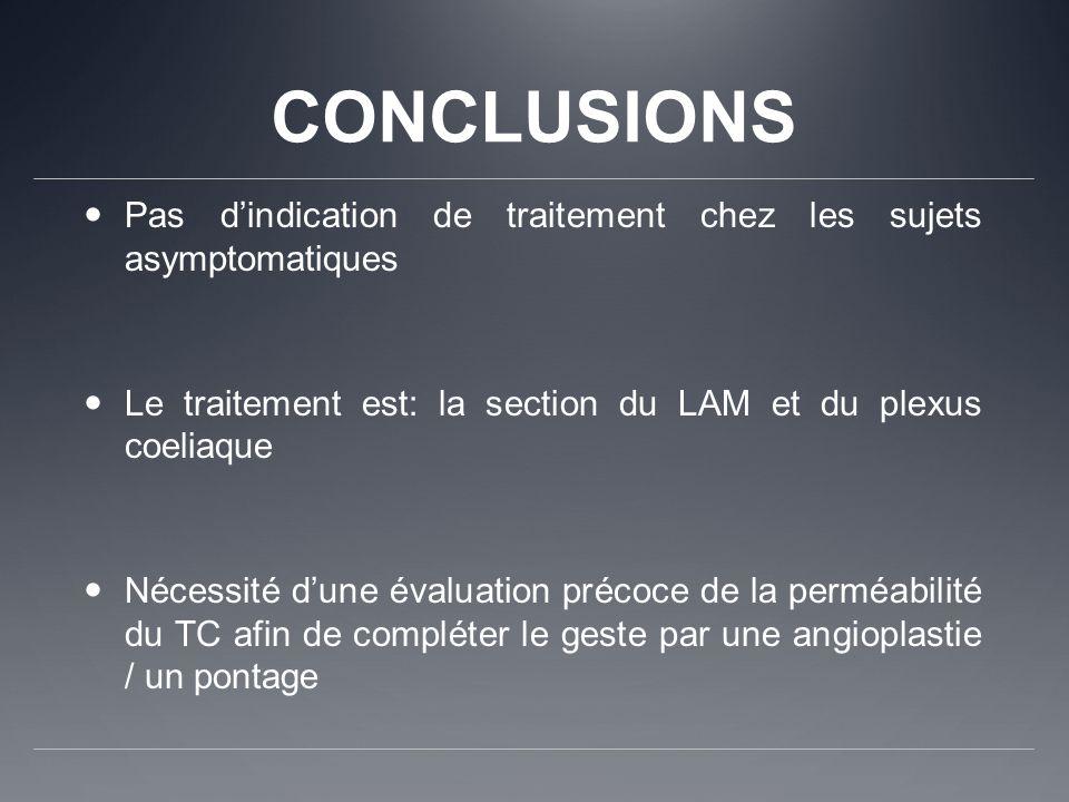 CONCLUSIONS Pas d'indication de traitement chez les sujets asymptomatiques. Le traitement est: la section du LAM et du plexus coeliaque.