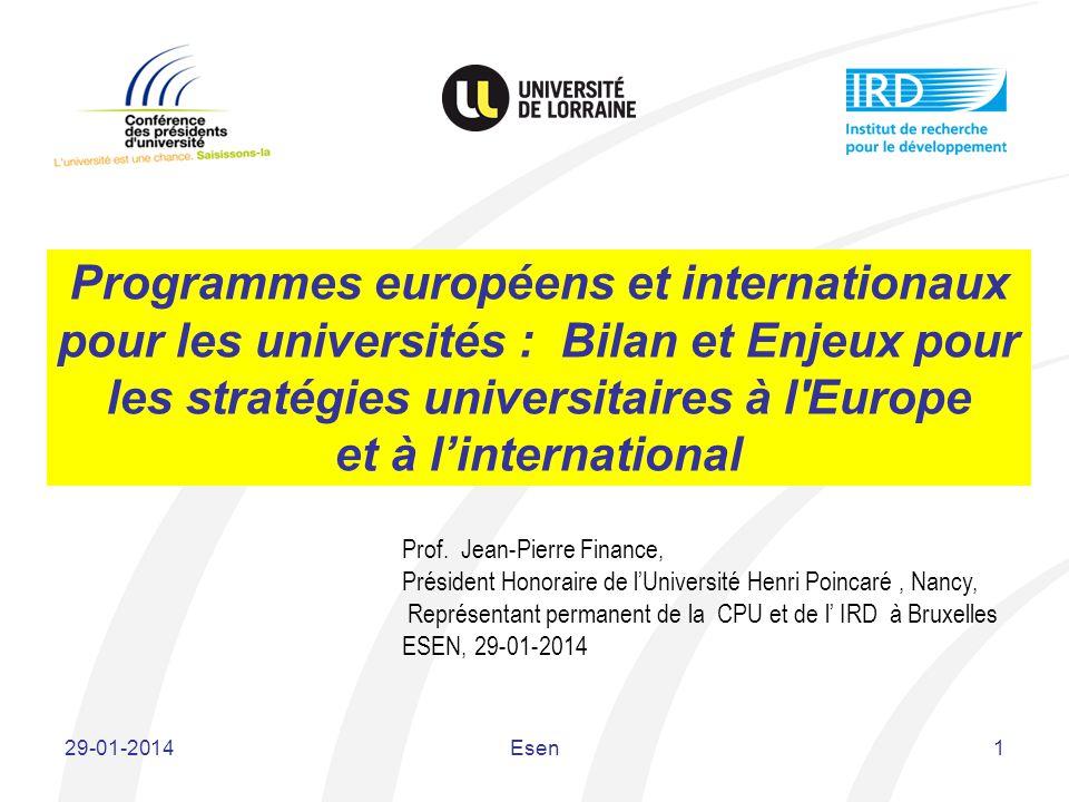 Programmes européens et internationaux pour les universités : Bilan et Enjeux pour les stratégies universitaires à l Europe et à l'international