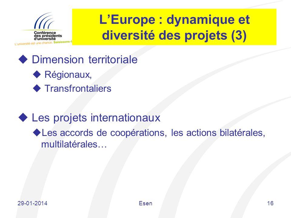 L'Europe : dynamique et diversité des projets (3)