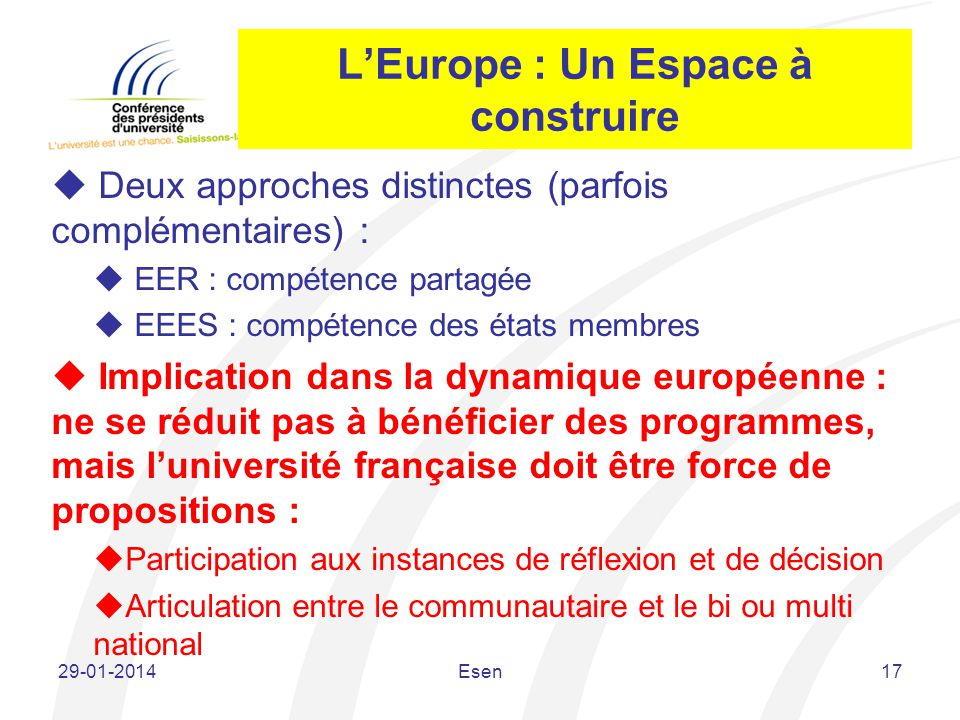 L'Europe : Un Espace à construire