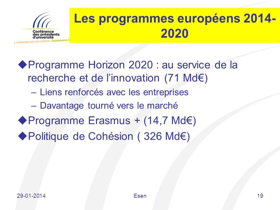 Les programmes européens 2014-2020