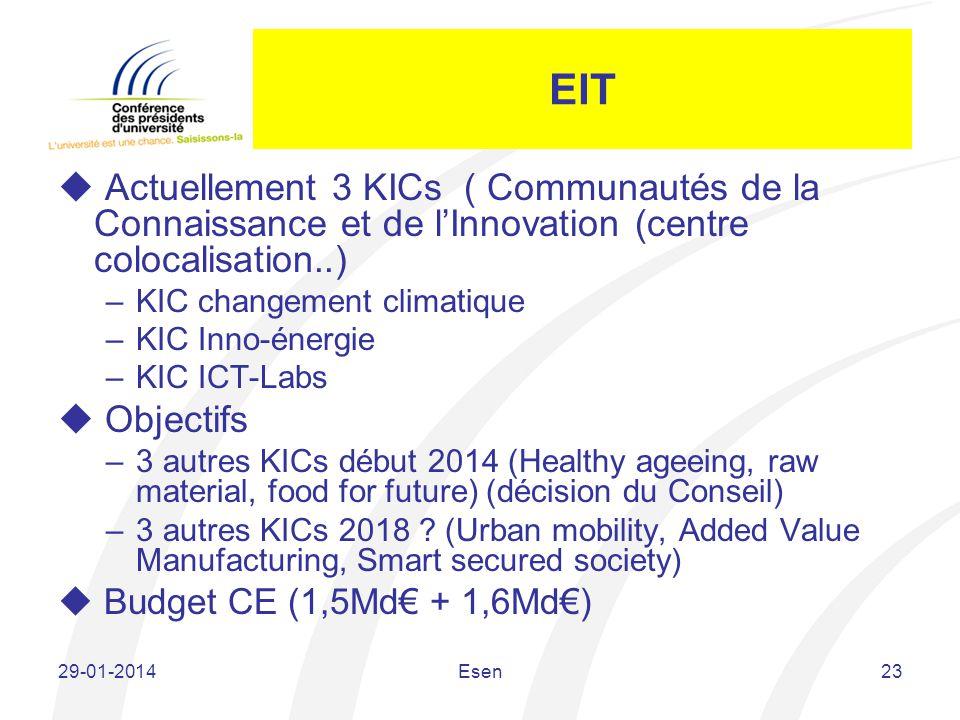 EIT Actuellement 3 KICs ( Communautés de la Connaissance et de l'Innovation (centre colocalisation..)