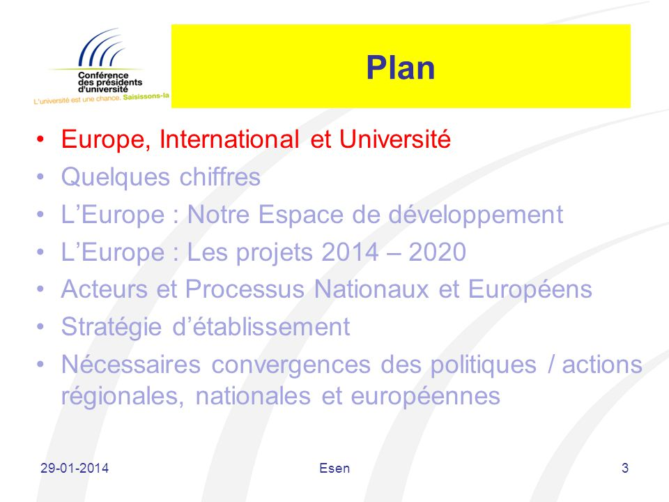 Plan Europe, International et Université Quelques chiffres