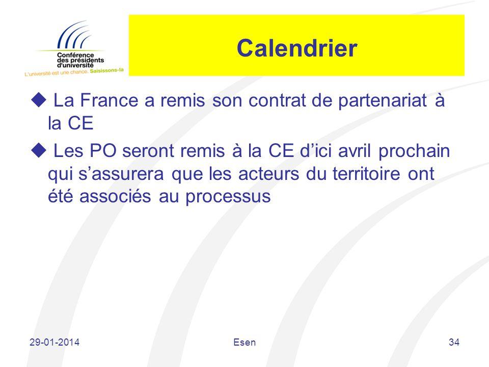 Calendrier La France a remis son contrat de partenariat à la CE