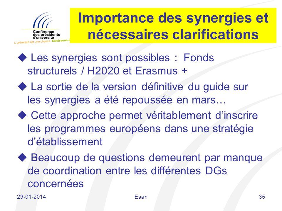 Importance des synergies et nécessaires clarifications