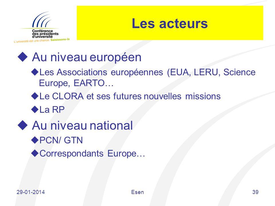 Les acteurs Au niveau européen Au niveau national