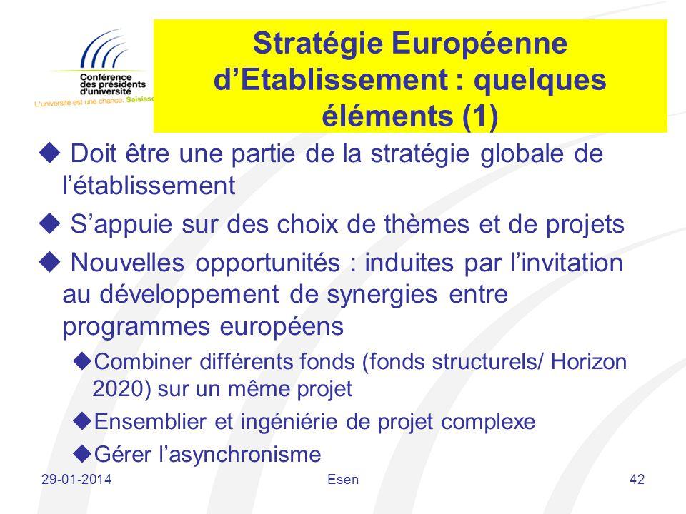 Stratégie Européenne d'Etablissement : quelques éléments (1)