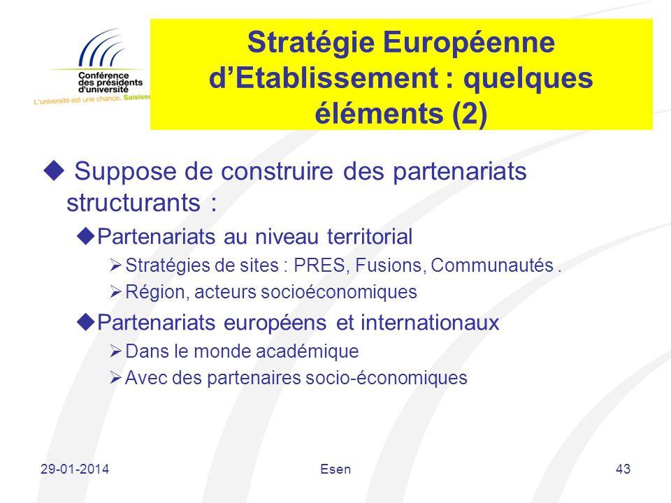 Stratégie Européenne d'Etablissement : quelques éléments (2)