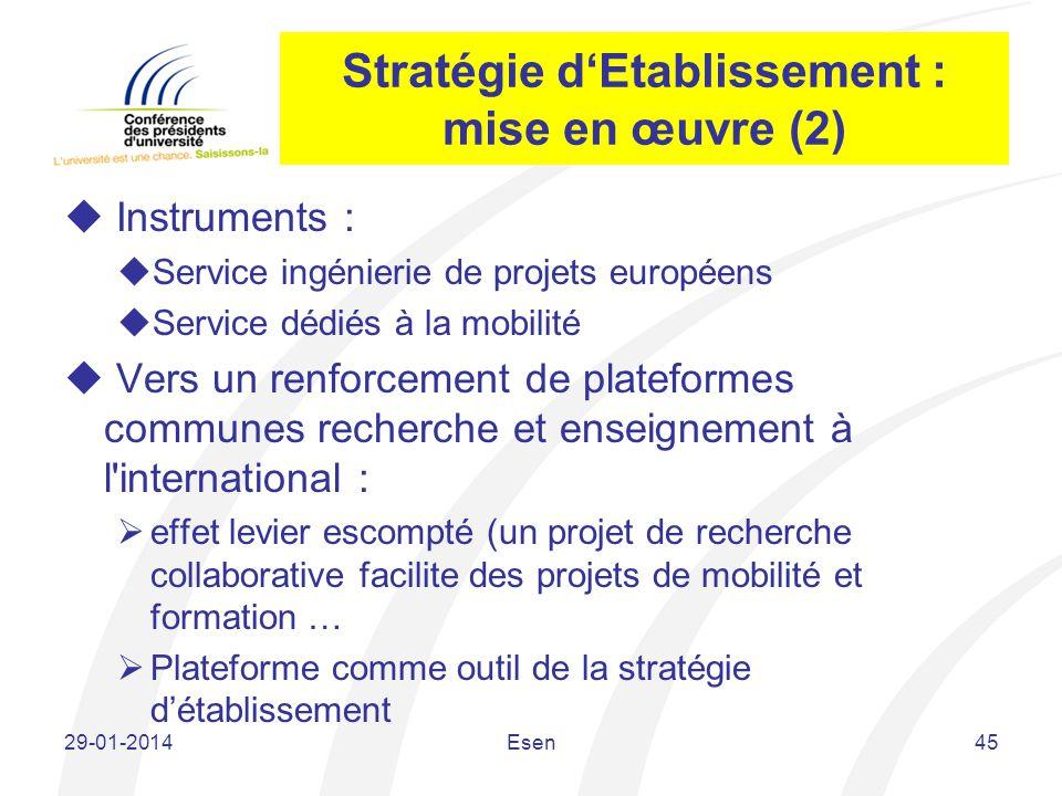 Stratégie d'Etablissement : mise en œuvre (2)