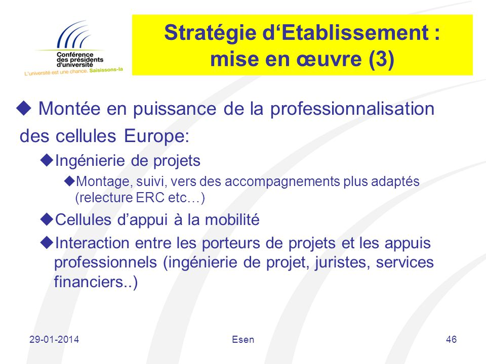 Stratégie d'Etablissement : mise en œuvre (3)