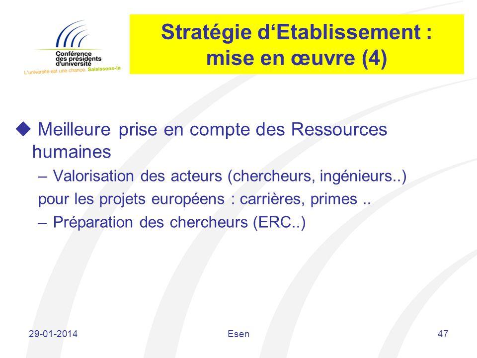 Stratégie d'Etablissement : mise en œuvre (4)