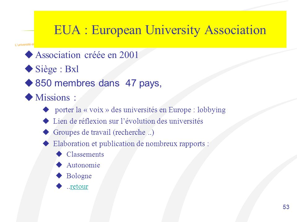 EUA : European University Association