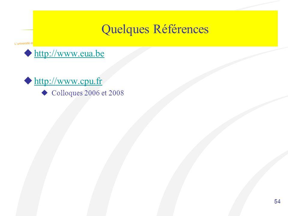 Quelques Références http://www.eua.be http://www.cpu.fr