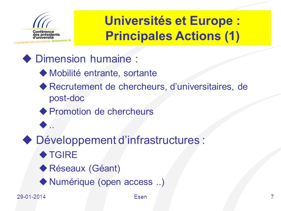 Universités et Europe : Principales Actions (1)