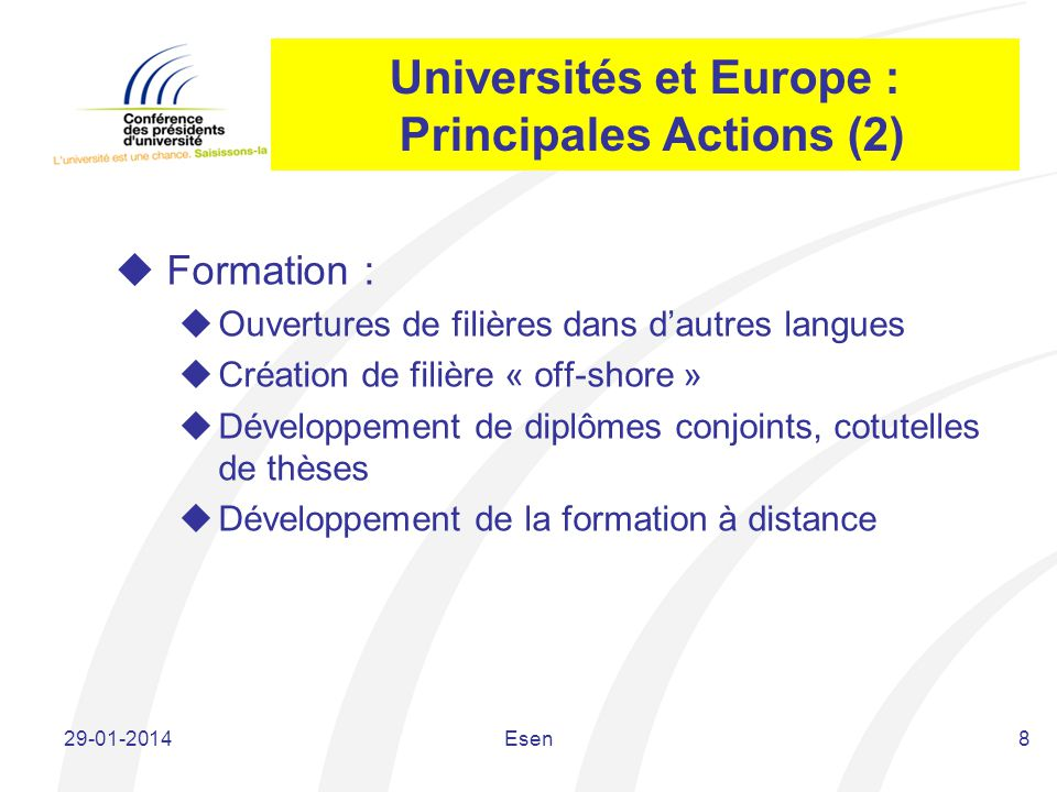Universités et Europe : Principales Actions (2)