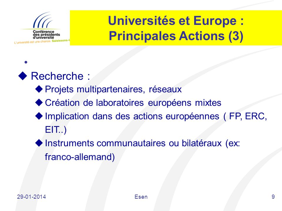 Universités et Europe : Principales Actions (3)