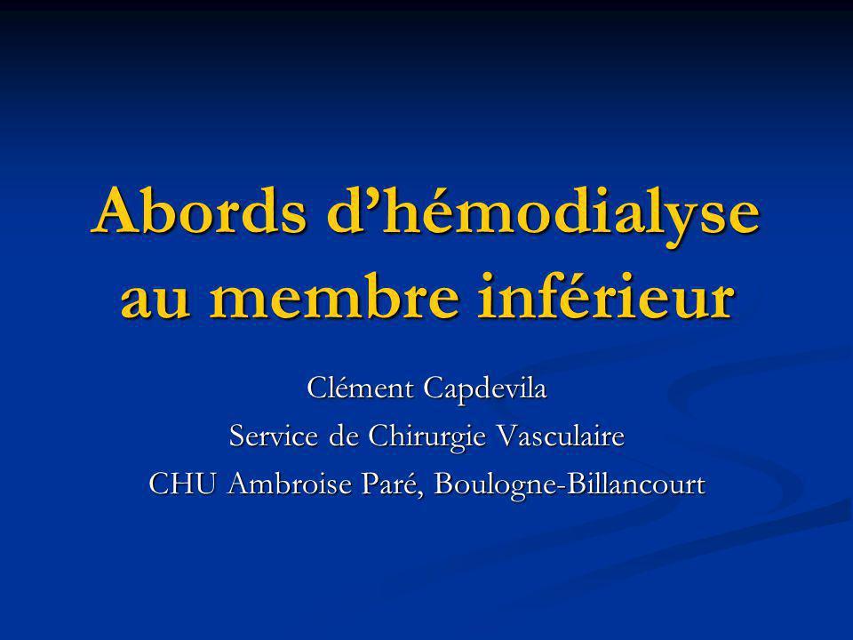 Abords d'hémodialyse au membre inférieur