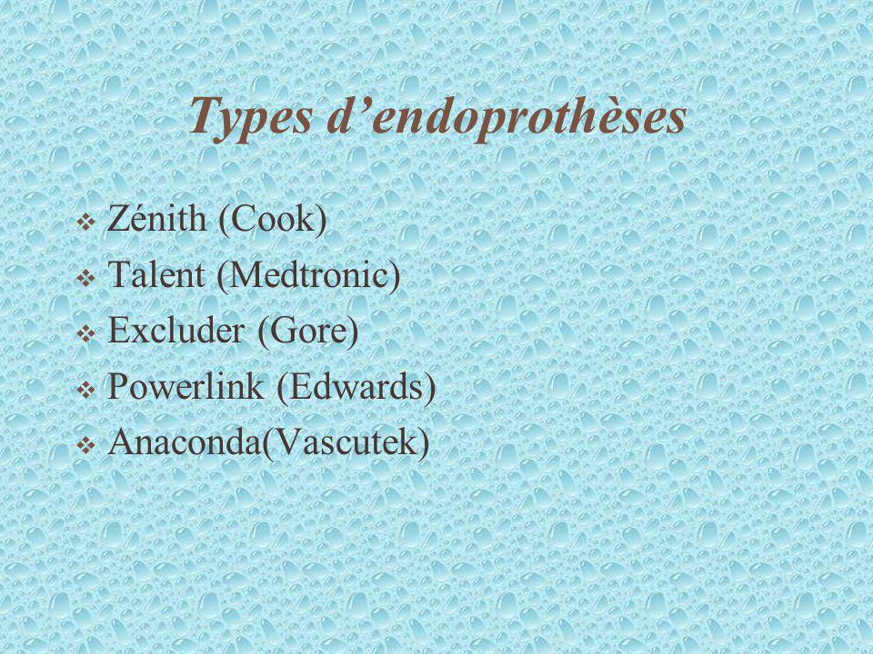 Types d'endoprothèses