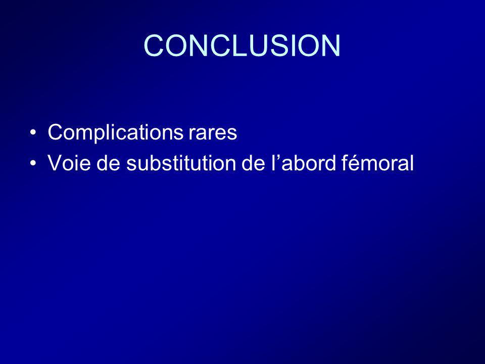CONCLUSION Complications rares Voie de substitution de l'abord fémoral
