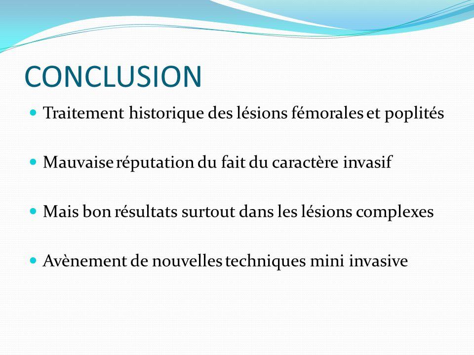 CONCLUSION Traitement historique des lésions fémorales et poplités